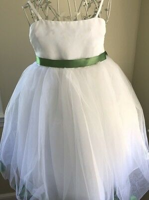 EUC Barefoot Fairy Sz 6 White Green Petal Dress Free Shipping