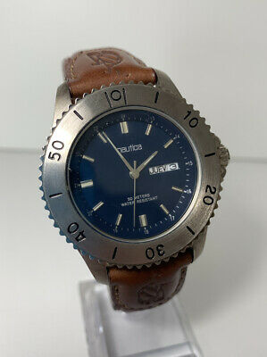 Men's Vintage Nautica Watch Brown Leather Blue Calendar Classic Retro Clean