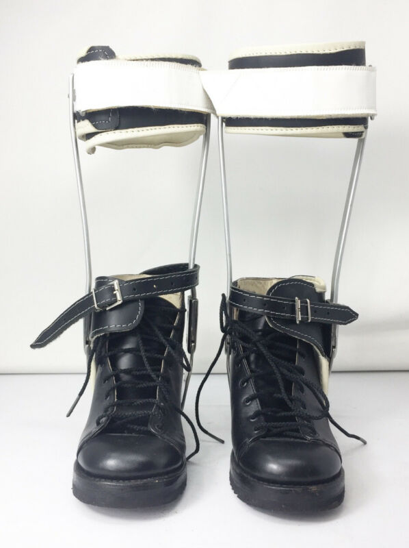 Antique Vtg Leather And Metal Kid Size 3 M Polio Leg Braces & Tarso Medius Shoes