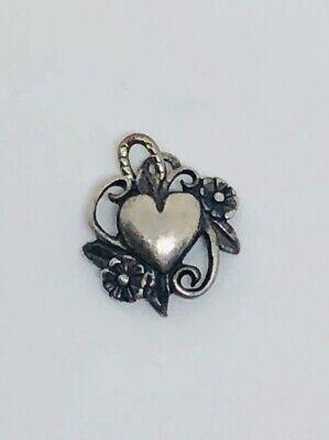 VINTAGE STERLING SILVER FILIGREE HEART FLOWER PENDANT CHARM Sterling Silver Filigree Heart Charm