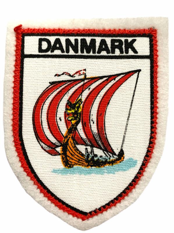 Danmark Denmark Souvenir Travel Patch Viking Ship New Vintage Sew On