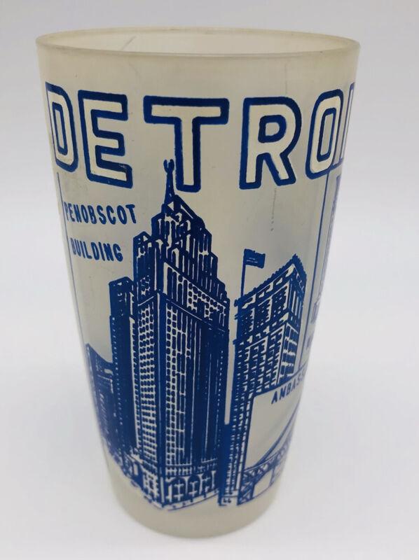 Vintage DETROIT THE MOTOR CITY Frosted Glass Souvenir Tumbler Cup Blue