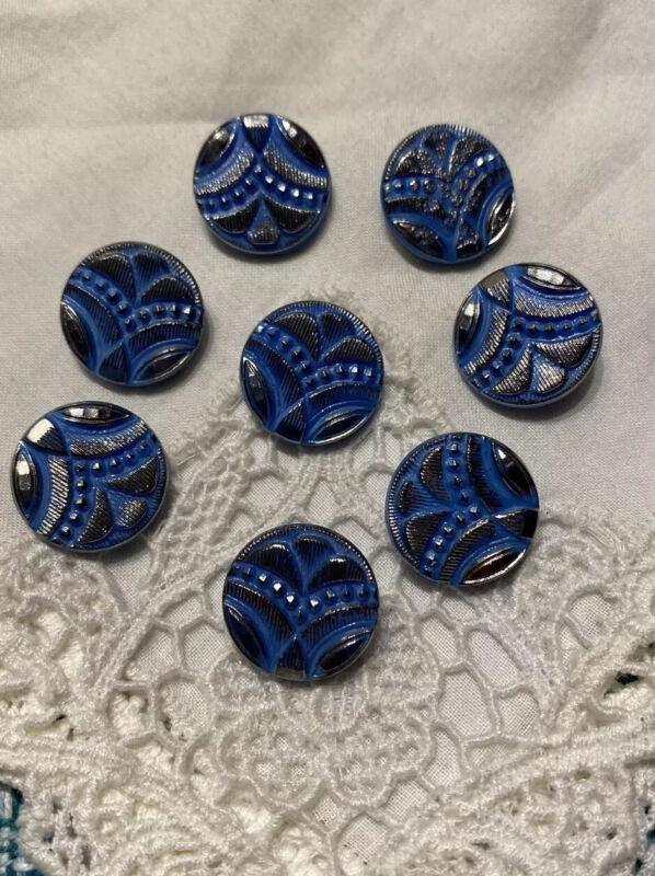 Vintage 8 Blue Glass Silver Trim Buttons Button Lot