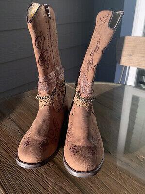 Paris Blues® Bellzia 2 girls brown boots size 3 faux leather NEW