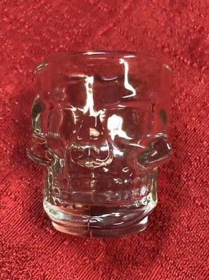 Set Of 2 Skull Shot Glass Clear Head Vodka Whiskey Cup Party Halloween Glasses