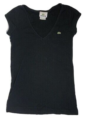Lacoste Black V-Neck T-Shirt Top Short Sleeve Slim Fit Casual Women's Small (36)