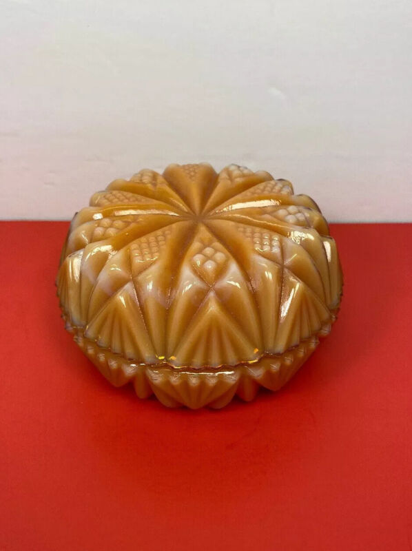 Orange Slag Glass Ornate Powder Box Trinket Box w/Lid