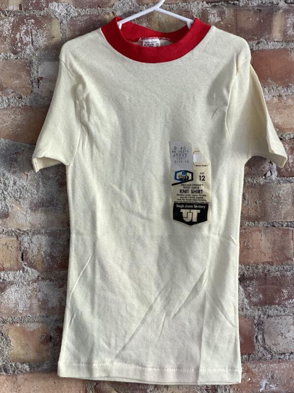 Vintage 70s Perma Prest Deadstock W Tags Boys 10-12 Kids T Shirt SEARS USA 50/50