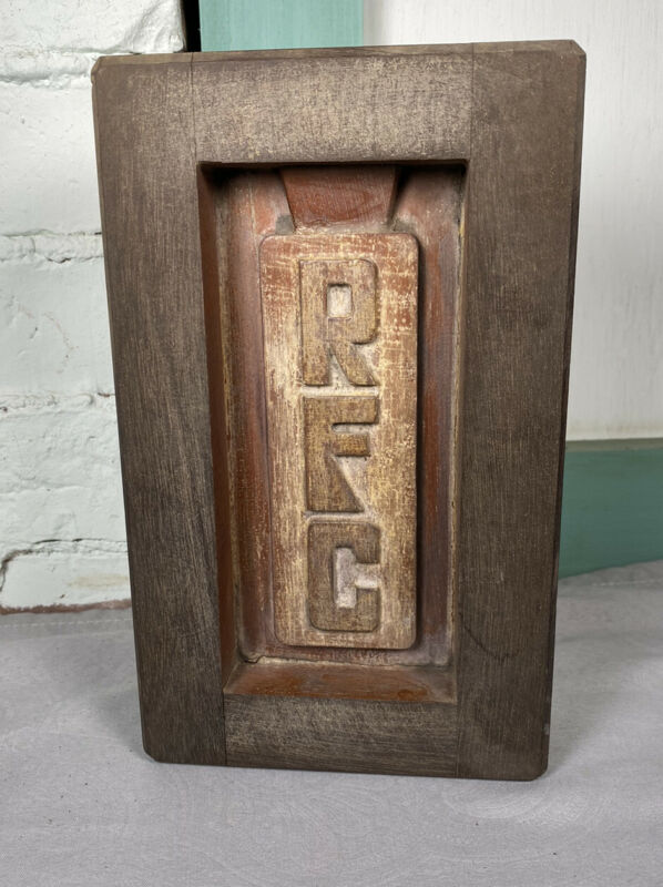 Vintage Wood Foundry Form, Mold Box ~ RFC initials inside, Wall, Shelf Display