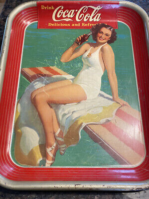 coca cola tray 1939 With Girl On Surfboard