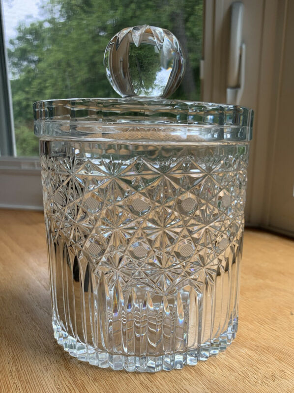 L E Smith Crystal Biscuit Jar Daisy Button Clear W/Lid Vintage
