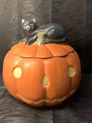 David Carter Brown Pumpkin Sakura Cookie Jar Jack O Lantern Black Cat Halloween