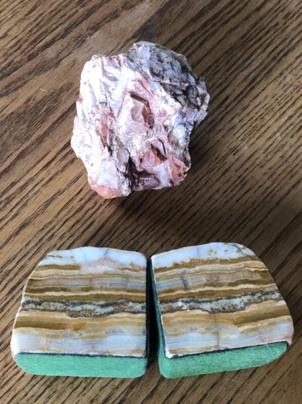Lot 3 Arizona Petrified Wood Book Ends Brown Stone & Beautiful Unpolished Piece
