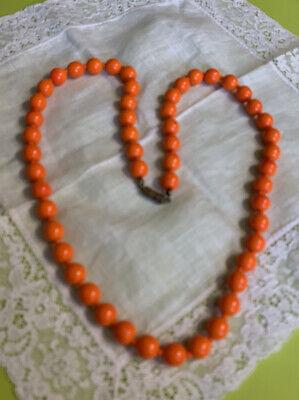 "Vintage Orange Glass Beaded Halloween 24"" Necklace BB-89"