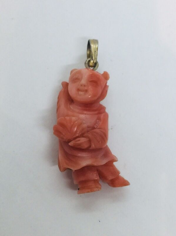 Antique Chinese Carved Light Red Coral Lady Pendant