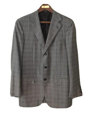 Kiton Blazer Plaid Cashmere Silk Linen Mauve 42 Italy Checkered Sports Jacket