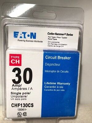 Eaton Chf130cs 30amp Single Pole Circuit Breaker 120240v Cutler-hammer New