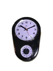 Bai New York Retro Kitchen Clock with Timer Silver NWT