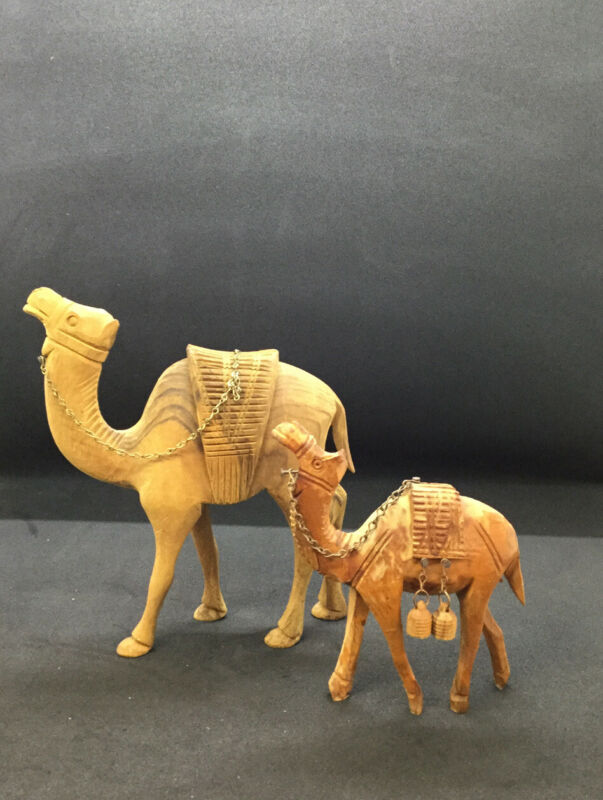 Vintage Hard Wood Carved Camel Set Of Two