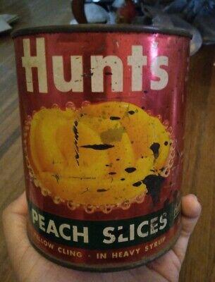 Vintage 1950s 50s hunts fruit peach slice 1 lb 13 oz tin steel can food decor