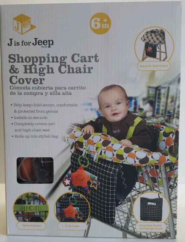 Jeep 2-in-1 Shopping Cart Cover High Chair Cover Cushion New in Box Multi-Color
