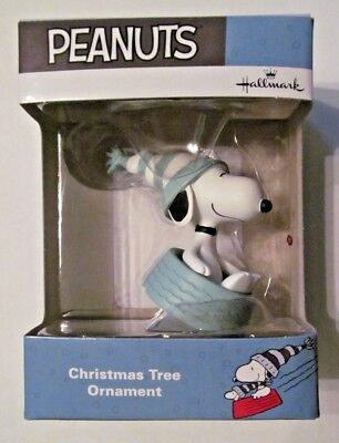 PEANUTS~Snoopy Sledding in Dog Bowl~HALLMARK Ornament~NEW in Pkg.