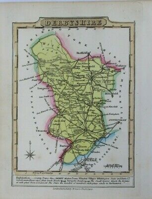 Antique map of Derbyshire by William Lewis 1819