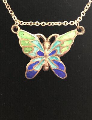 """BEAUTIFUL BLUE/GREEN ENAMEL BUTTERFLY PENDANT NECKLACE 18"""" STERLING SILVER Sterling Silver Enamel Butterfly Pendant"""