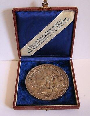 Medaille Ehrenpreis Tierbörse Otto Weber Heilbronn 1908 Geflügelzucht im Etui