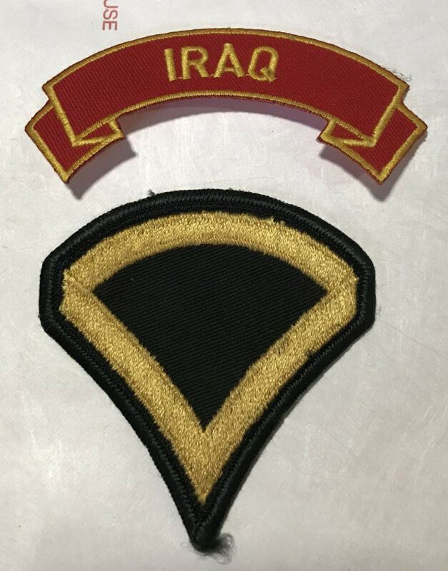 2-MARINE CORPS IRAQ  MILITARY EMBROIDERED USMC RED SHOULDER ROCKER & Bar Patches