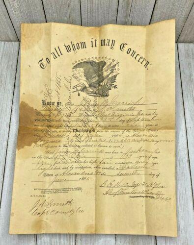 Original 1865 Discharge Papers For James M. Garnick West Virgina