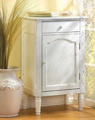 Hand Rubbed Antiqued White Wood Storage Cabinet Table Nightstand Drawer & Door Antiqued White Wood Cabinet