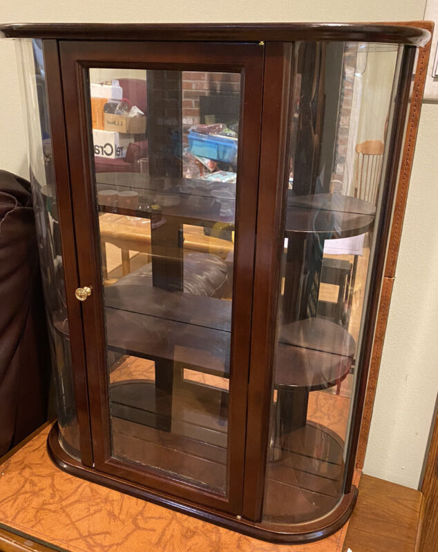 Wall Hanging Wood Curio Cabinet/Display Case With Wood Shelves