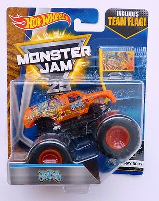 Hot Wheels Monster Jam Truck  JESTER with X-RAY BODY & TEAM FLAG  Rare UK !!