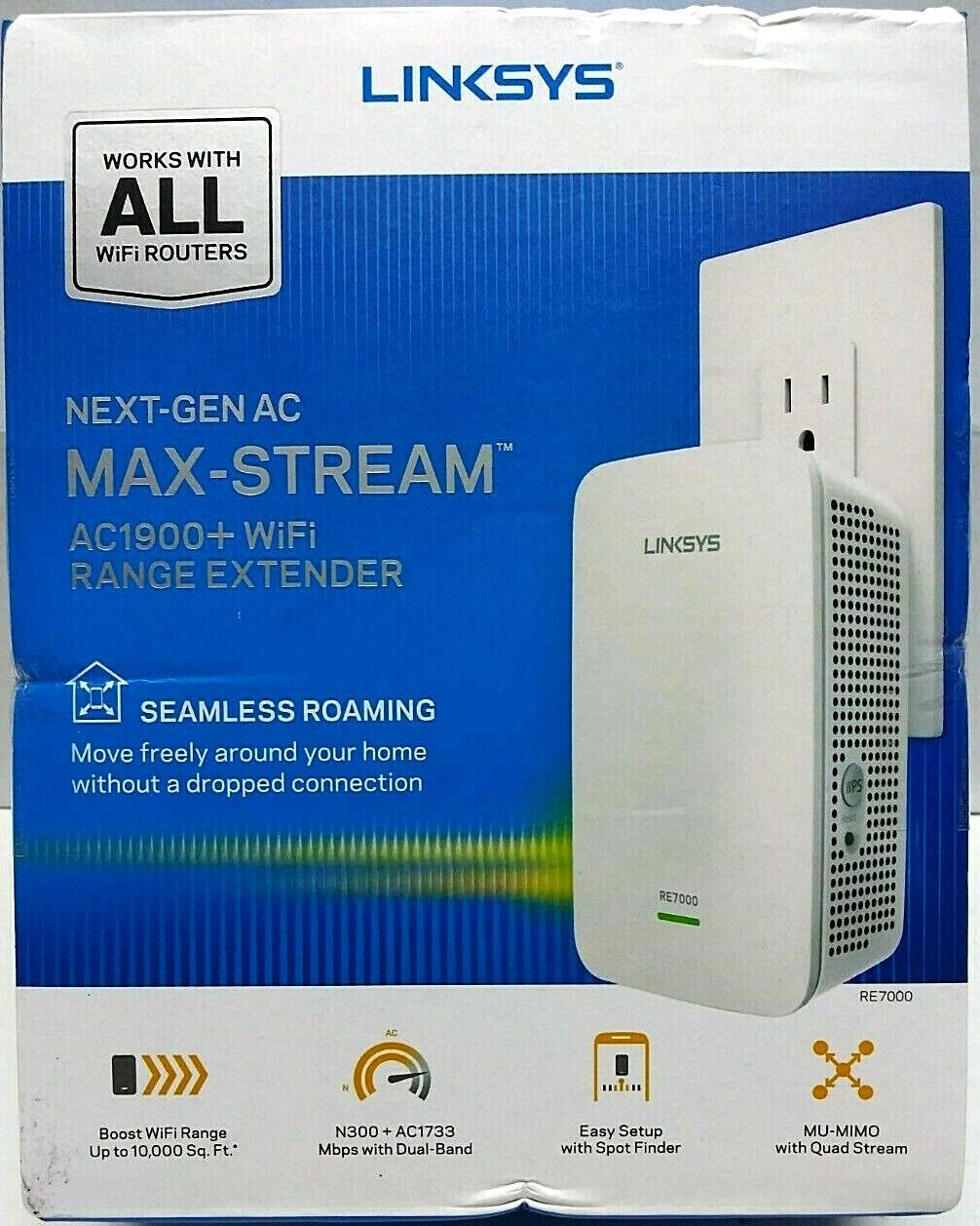 Linksys Max-Stream RE7000 IEEE 802.11ac 1.86 Gbit/s Wireless