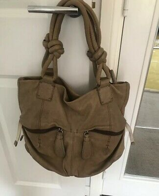 AMEKE LARGE BEIGE MOCHA REAL LEATHER TOTE  SHOULDER HANDBAG BAG