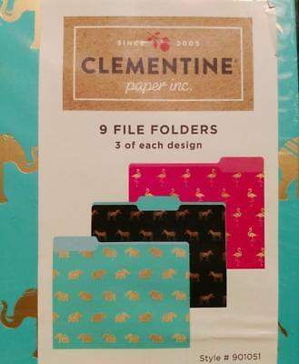 Clementine Paper File Folders 9 Ct Set Featuring Elephants Zebras Flamingos New