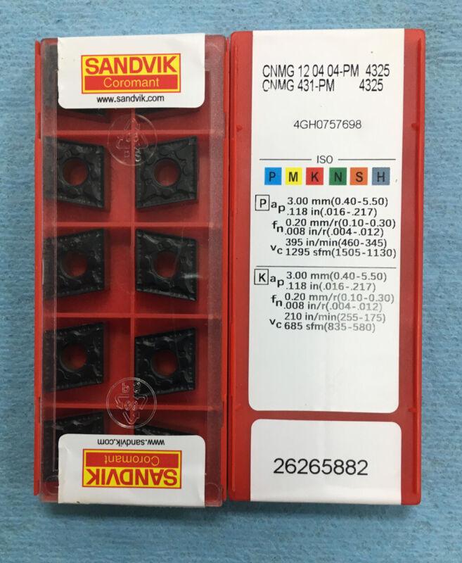 Sandvik CNMG431-PM 4325 CNMG120404-PM CNC Carbide Inserts (10 PCS)