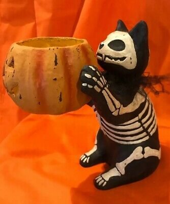 Bethany Lowe Halloween Skeleton Cat Candle Holder—retired-- Tea Light Included