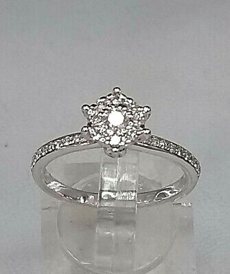 "STUNNING  9ct White Gold  .45 Diamond Cluster Ring   ""REAL DIAMONDS, REAL GOLD"""