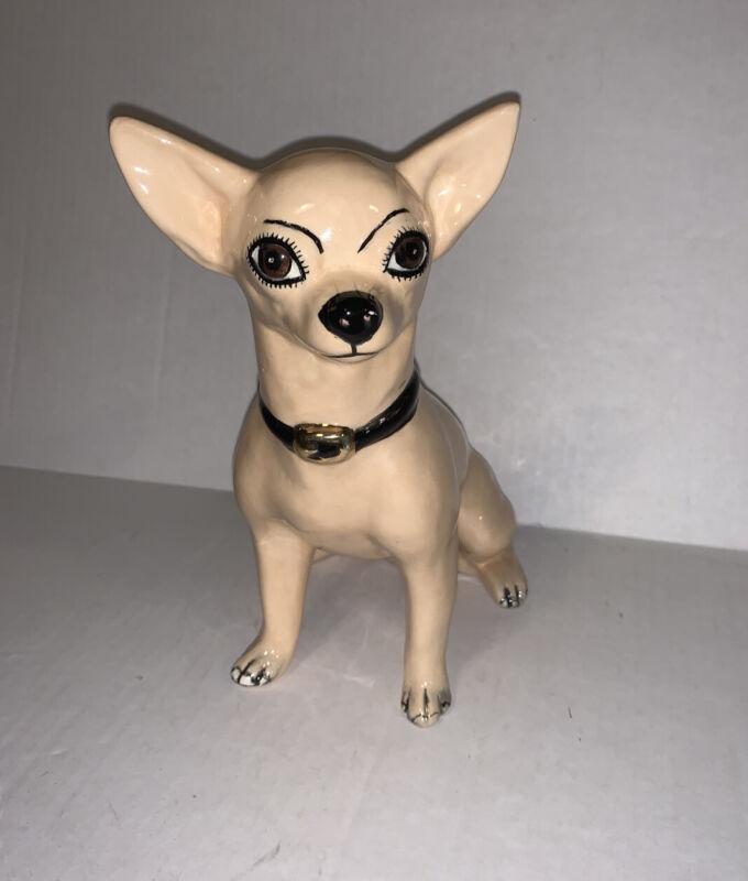 "Vintage Ceramic Tan Chihuahua Figurine 8"" Tall"