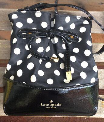CUTE Authentic KATE SPADE Black & White Polka Dot Crossbody Bucket Bag Handbag