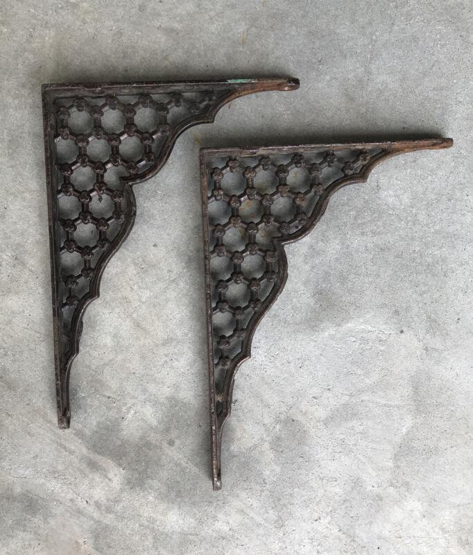 Pair Antique Victorian Cast Iron Shelf Brackets Architecture Salvage Nice!