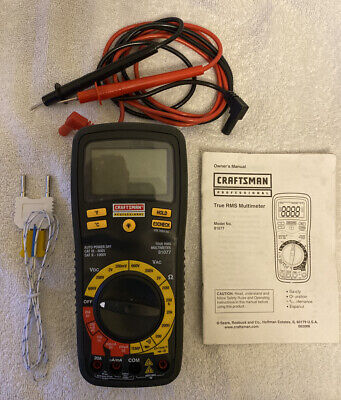 Craftsman Professional True Rms Multimeter With Leads Manual Temperature Probe