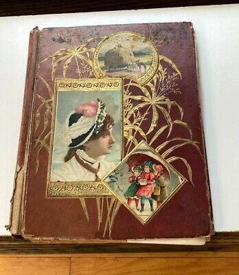 Victorian Scrapbook with many Victorian Trade Cards and Clippings 1880s As Is