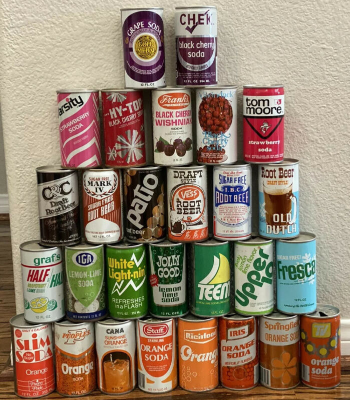 Wow Lot Of 28 Vintage Old Circa All Flavors & Brands Pull Tab Soda Cans POP Wow!