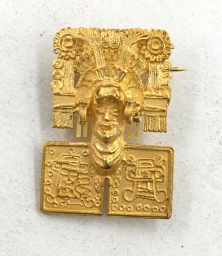 Vintage 18k Yellow Gold Aztec God Lord Of The Dead Mask Pin Brooch