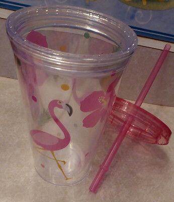 Pink FLAMINGO Tall Straw Lid Florida Goblet Plastic Glass Pool Friendly Luau (Clear Pink Plastic Cups)