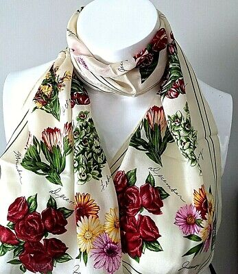 Vintage Scarf Styles -1920s to 1960s Vintage ECHO Made in Japan Flowers of the Month 100% Silk Scarf 11.5 x 53.5  $11.99 AT vintagedancer.com