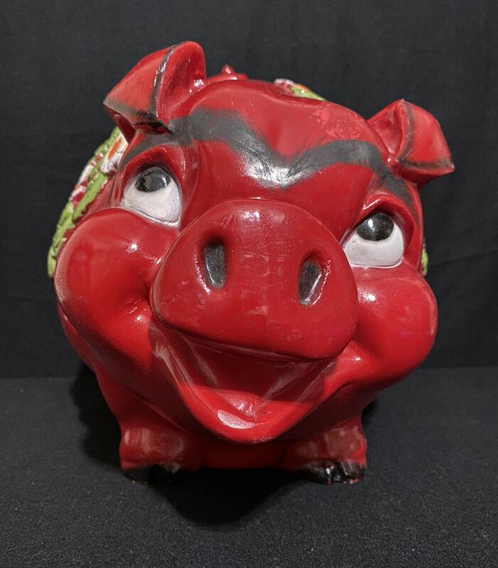 Vintage 1976 Universal Statuary PIGGY BANK Cream RED Flowers LARGE Plastic
